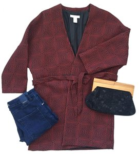 H&M Burgundy, marsala, red, geometric pattern Blazer