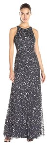 Adrianna Papell Cut-out Sequin Racer-back Silver Metallic Dress