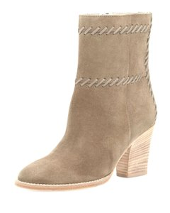 Aquatalia by Marvin K. Bold Top-stitch Stacked Heel Tan Boots