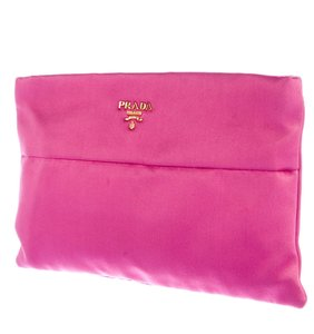 Prada Tessuto Satin Gold Hardware Logo Textured Pink, Gold Clutch