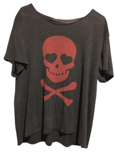 Wildfox Skull Crossbones T Shirt charcoal, red