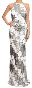 ZEMA Sequin Fit And Flare Floral Sequin Evening Dress