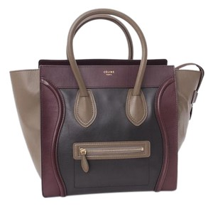 Céline Tricolor Mini Luggage Black Taupe Brown Maroon Leather Handbag Tote in Multi-Color