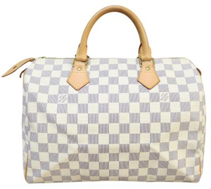 Louis Vuitton Lv Damier Azur Speedy 30 Tote in white