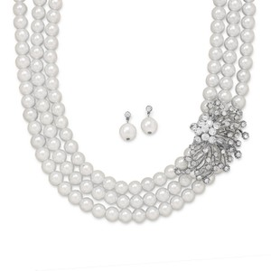 Glass Pearl And Crystal Necklace And Earring Set