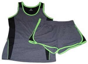 Pro Zone Womens Running Athletic Outfit Size M Gray Black Green New