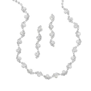 Beautiful Wave Design Crystal Necklace And Earring Set