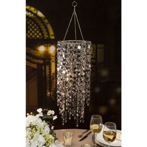 Hanging Jeweled Sparkling Silver Chandeliers (set Of 3)