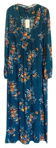 Deep blue green with floral design Maxi Dress by Forever 21