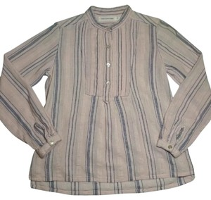 Isabel Marant Casual Striped Cotton Top Light Pink and Navy