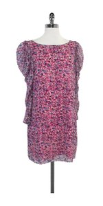 Tibi short dress Fuchsia Blue Floral Silk on Tradesy