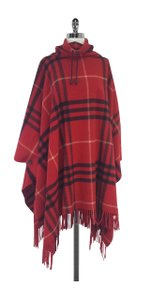 Burberry Red Oversized Plaid Poncho Cape