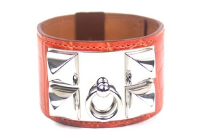 Hermès Collier De Chien Orange Crocodile Bracelet S