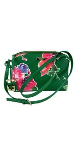 Kate Spade Green Floral Leather Cross Body Bag
