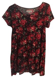 American Apparel short dress SUPER SOFT DRESS: Red Roses Print/Black Babydoll Babydoll Floral Flower on Tradesy