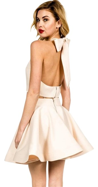 Item - Cream Two Piece Bow Top and Skirt Mini Cocktail Dress Size 6 (S)