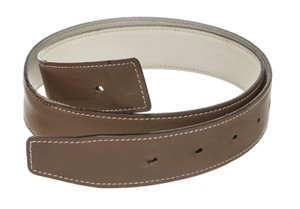 Herms Hermes Taupe and White Leather Belt (Size 80)