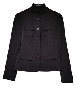 Tahari Mandarin Collar Fitted Black Blazer