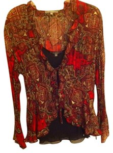 NY Collection Top Red, Black, & Beige Paisley