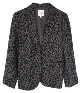 Joie Animal Print Linen Black Gray Blazer