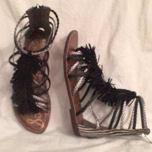 Sam Edelman Leather Fringe Braided Black White Silver (Pewter) Sandals