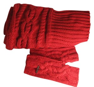 Michael Kors RED Large Cable Knit Infinity Scarf & fingerless mittens