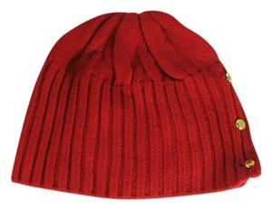 Michael Kors red with gold buttons SALLOW BEANIE HAT