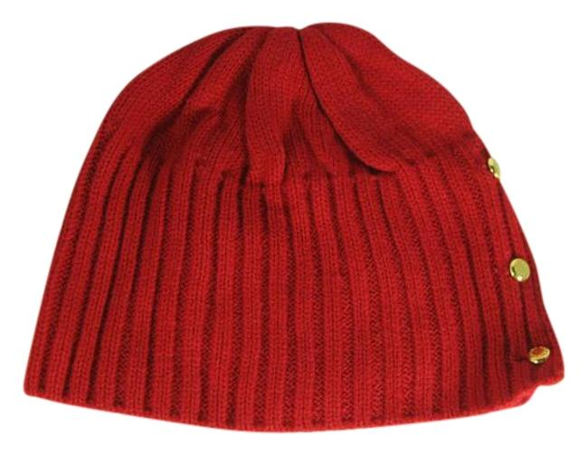 Item - Red With Gold Buttons Sallow Beanie Hat