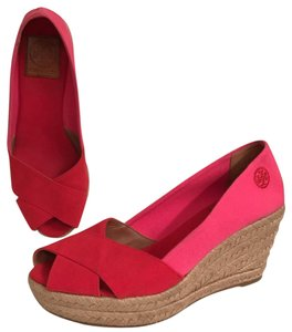 Tory Burch Canvas Platform Pump Summer Comfortable Red Pink Wedges