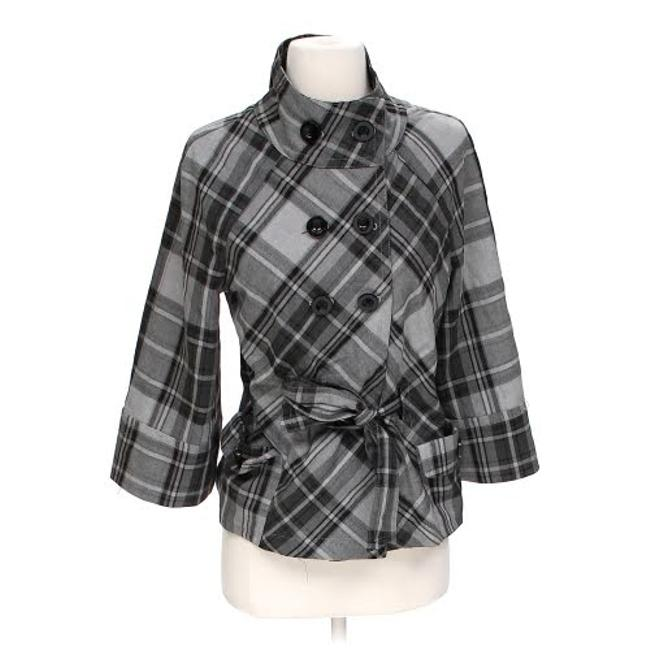 Item - Grey/Black W Grey/Black Plaid Double Breasted Pea Coat W/ Funnel Collar Jacket Size 4 (S)