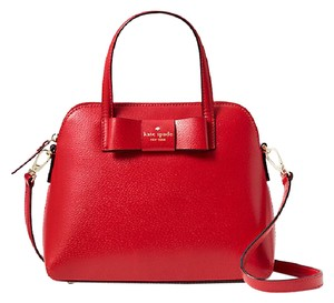 Kate Spade Leather Red Gold Maise New With Tags Satchel in Pillbox Red