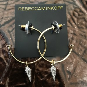 Rebecca Minkoff Pave Spike Gold Hoop Earrings