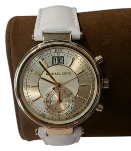 555cdfb696bc Michael Kors Michael Kors Gold Tone Dual Time Chronograph White Leather  Watch NEW