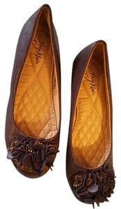 TORY KLEIN Embellished Cushioned Insoles Looks New Brown Flats