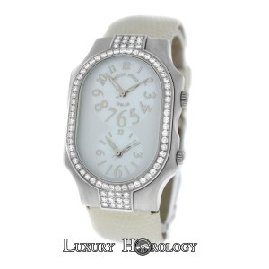 Philip Stein Ladies Philip Stein Teslar 2 Time Zone Steel Diamond MOP 32MM