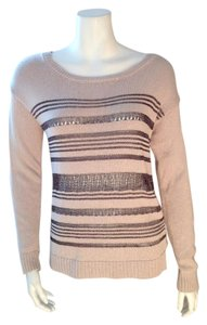 Rock & Republic & Striped Size Small Mesh Taupe Sweater