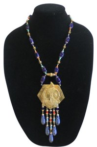 Miriam Haskell Egyptian Revial Blue Stone Necklace