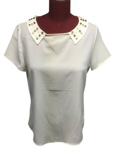 Other Studded Gold Top white
