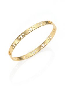 Tory Burch Tory Burch Pierced T Bangle Bracelet Gold