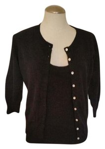 Cyrus Cashmere Mother Of Pearl Twin Set Cardigan Shell Sweater