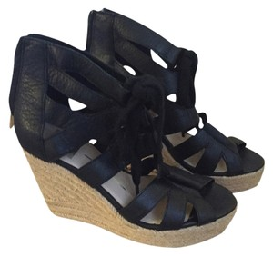 Dolce Vita Summer Fabric Black Wedges