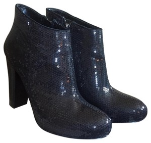 Nine West Sequin Ankle High Heel Black Boots