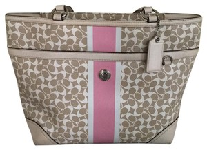 Coach Tote in Beige And Pink
