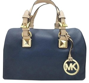 Michael Kors Grayson Leather Crossbody Wear Fully Lined Satchel in Navy