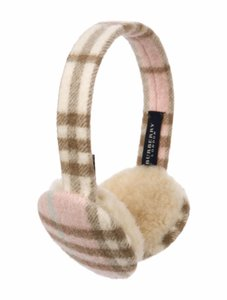 Burberry Burberry Pink, Tan Multicolor Print Check Cashmere Earmuffs ONE SIZE