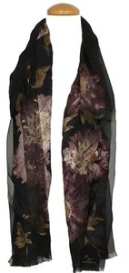 Lauren Ralph Lauren Black Purple Stripe Floral Silk Signature Fringe Scarf