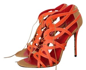 Cesare Paciotti Size 40 X107310t Corallo-tessuto Calf Orange Pumps