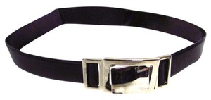 Landes Leather Belt with Square Silver Buckle Large
