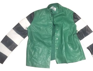 Acne Studios Green with black and white stripes Leather Jacket