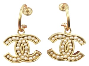 Chanel Chanel Gold Plated CC Pearl Piercing Earrings